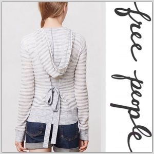 Anthropologie Moth Striped Bow Cardigan
